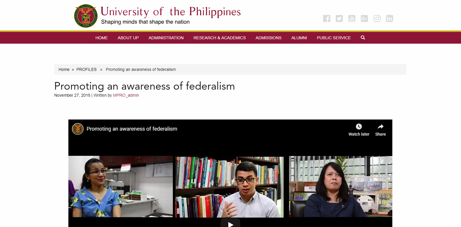 Promoting an awareness of federalism