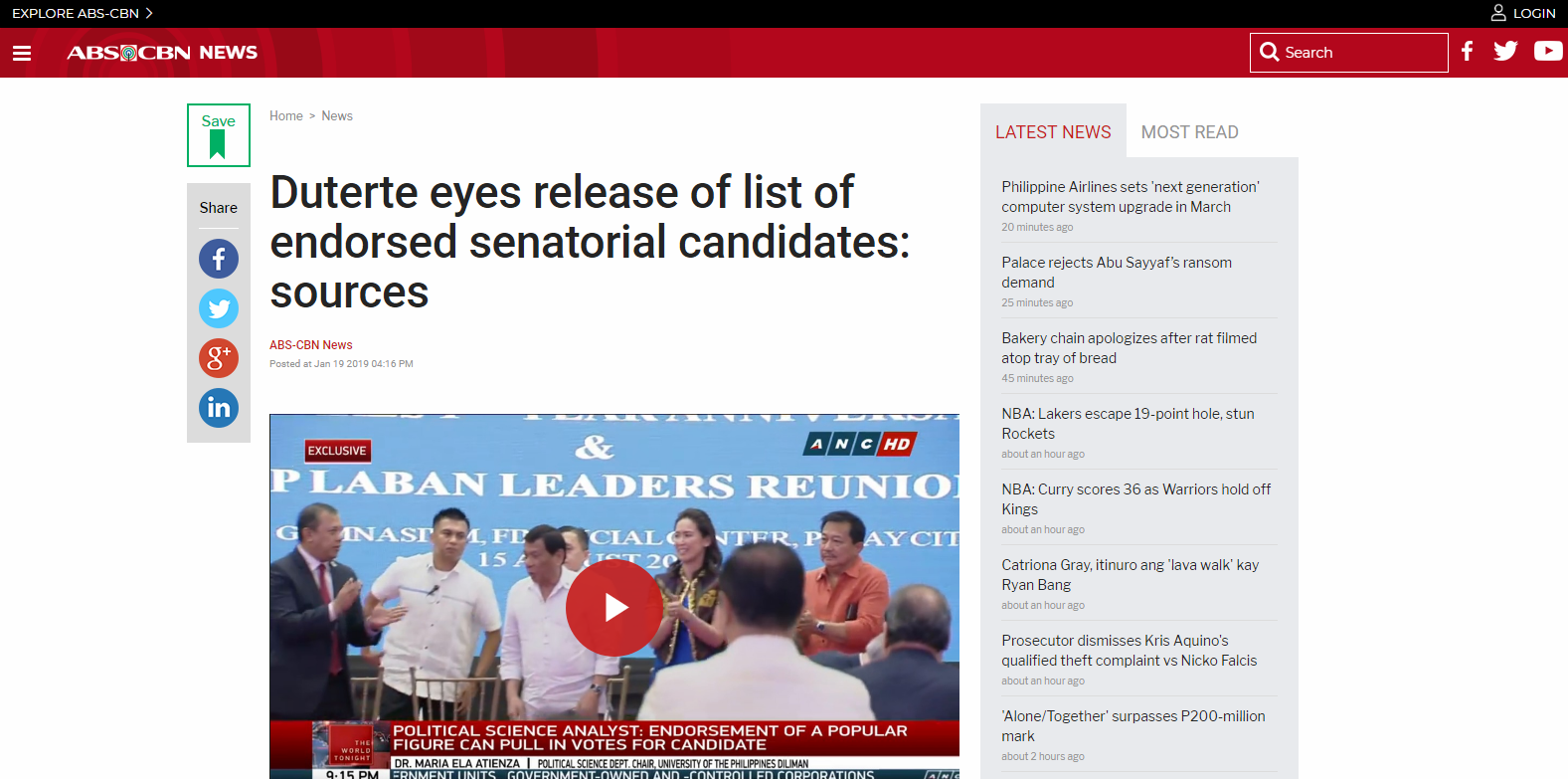 Duterte eyes release of list of endorsed senatorial candidates: sources