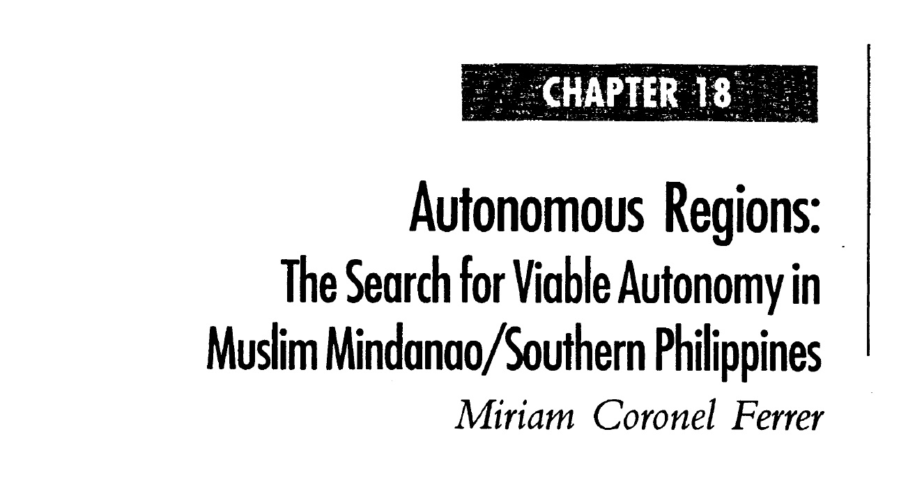 Autonomous Regions The Search for Viable Autonomy in Muslim Mindanao Southern Philippines (2006)