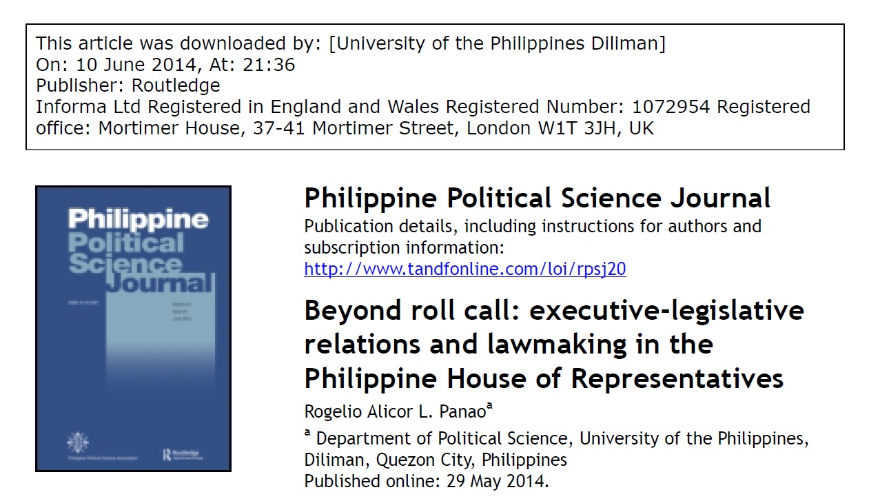 Beyond roll call executive-legislative relations and lawmaking in the Philippine House of Representatives (2013)