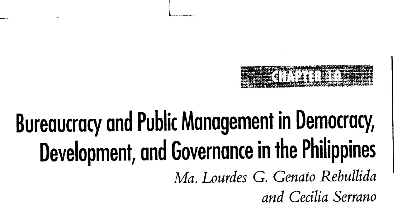 Bureaucracy and Public Management in Democracy, Development, and Governance in the Philippines (2006)