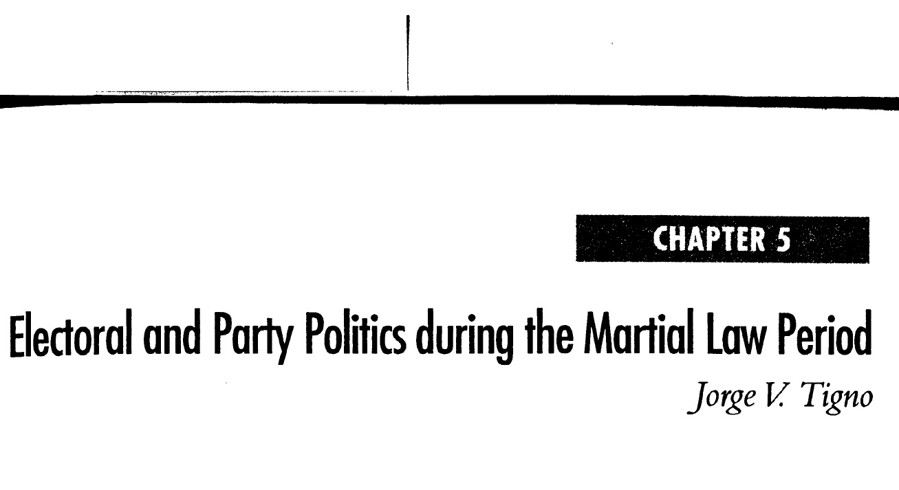 Electoral and Party Politics during the Martial Law Period (2006)