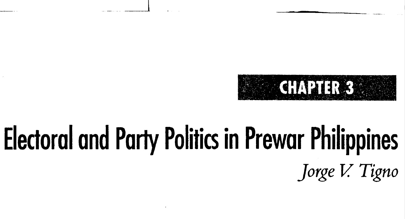Electoral and Party Politics in Prewar Philippines (2006)