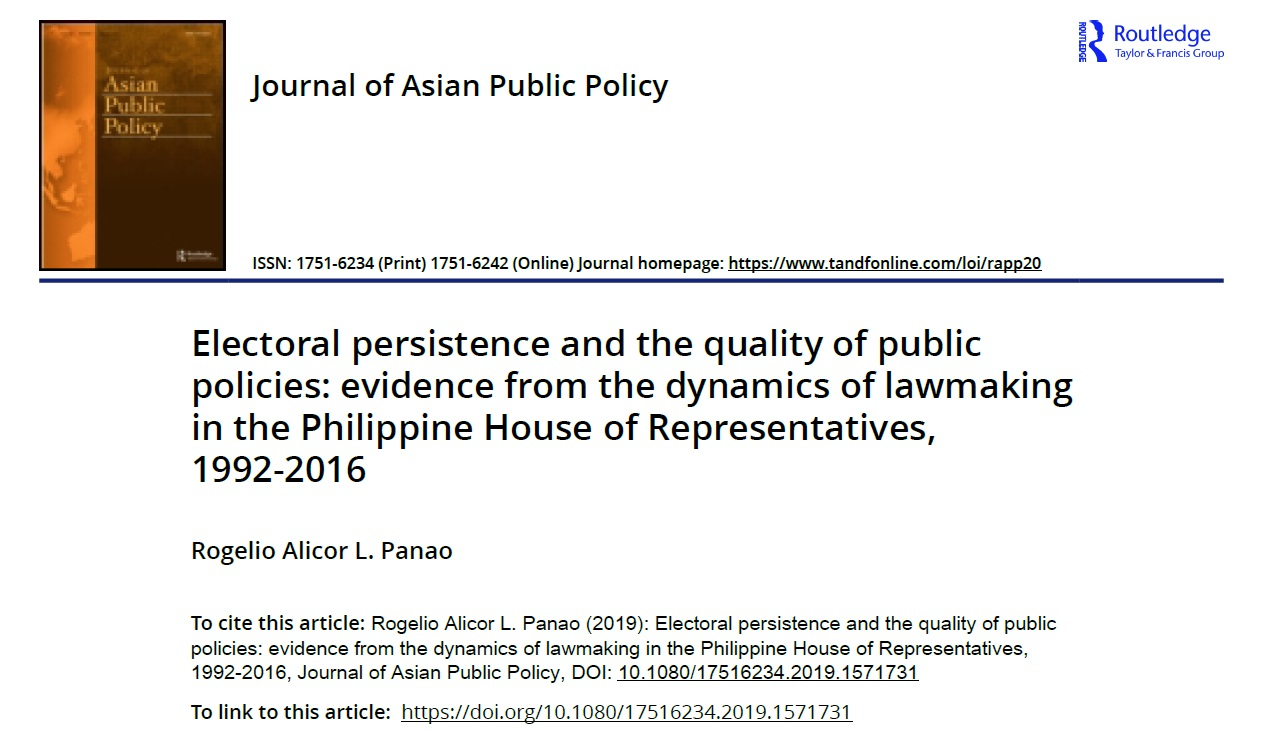 Electoral persistence and the quality of public policies evidence from the dynamics of lawmaking in the Philippine House of Representatives, 1992-2016 (2019)