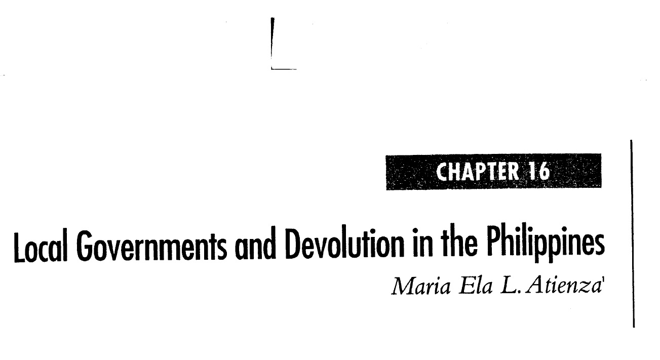 Local Governments and Devolution in the Philippines (2006)