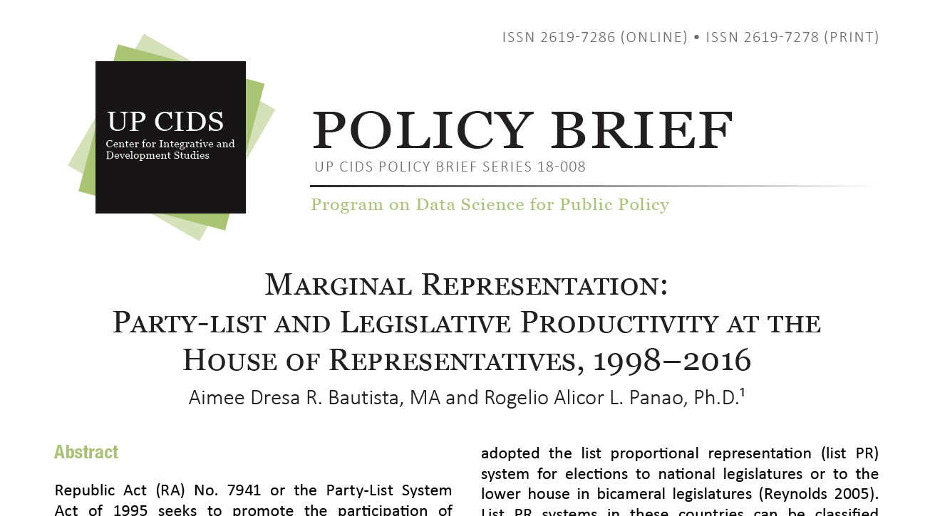 Marginal Representation Party-list and Legislative Productivity at the House of Representatives 1998–2016 (2019)
