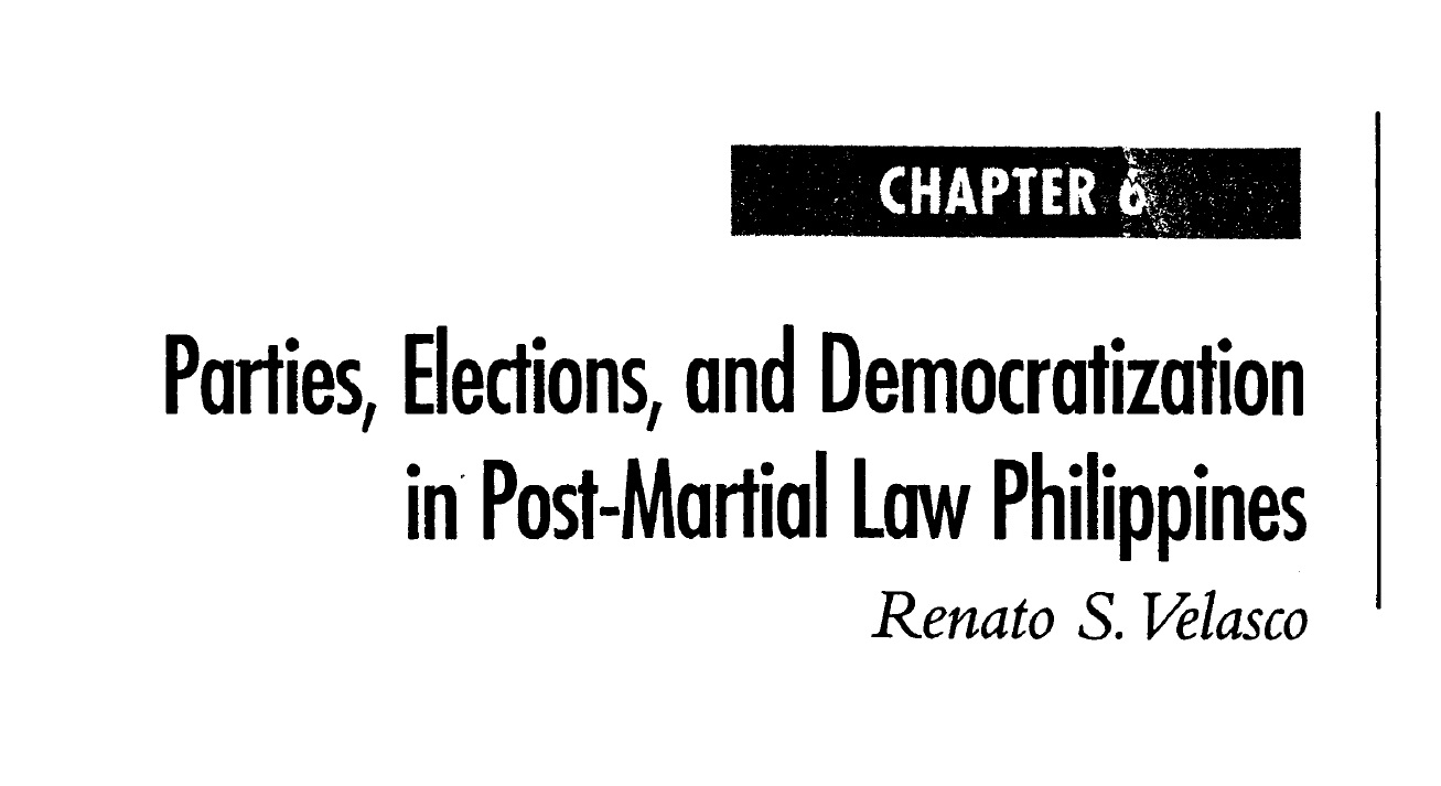 Parties, Elections, and Democratization in Post-Martial Law Philippines (2006)