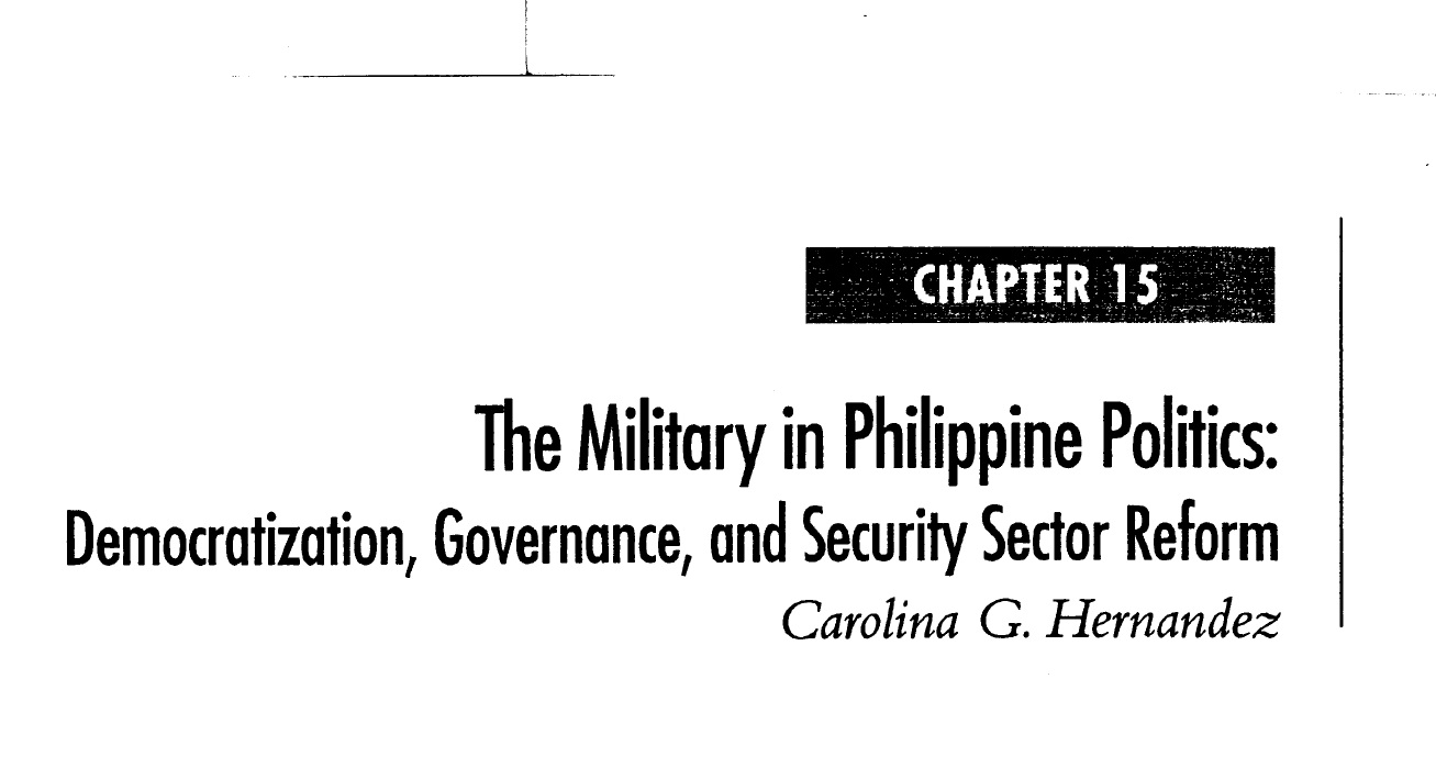 The Military in Philippine Politics Democratization, Governance, and Security Sector Reform (2006)