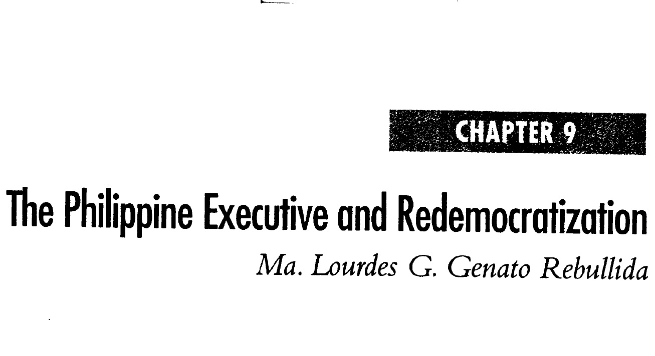 The Philippine Executive and Redemocratization (2006)