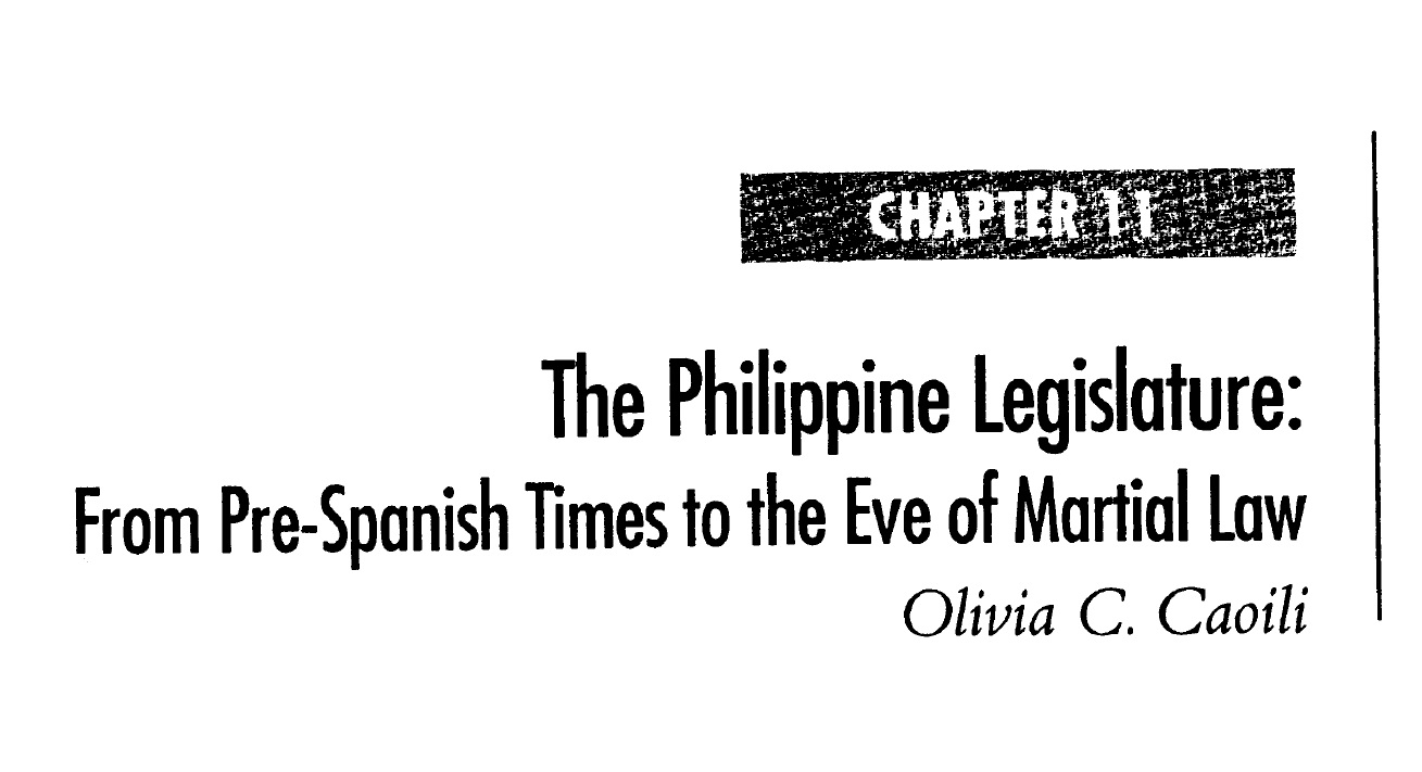 The Philippine Legislature From Pre-Spanish Times to the Eve of Martial Law (2006)