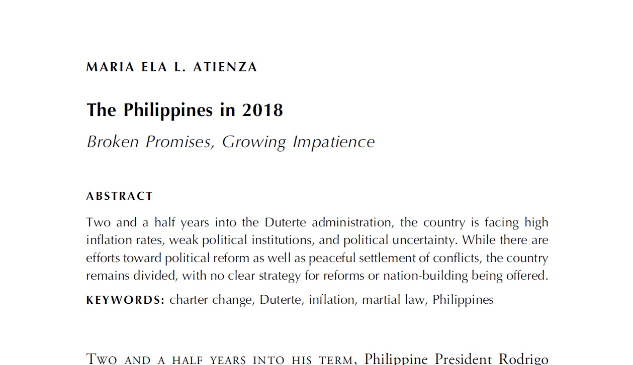 The Philippines in 2018 Broken Promises, Growing Impatience (2019)