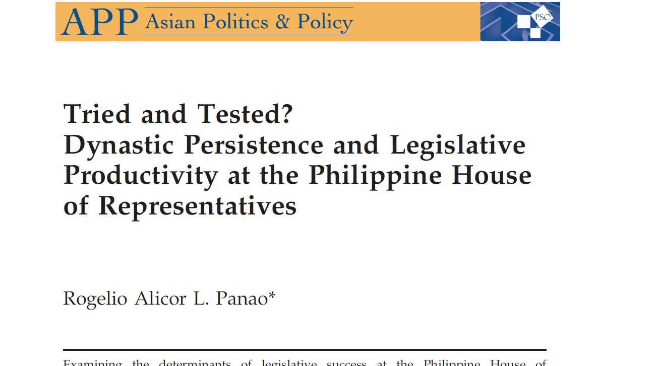 Tried and Tested Dynastic Persistence and Legislative Productivity at the Philippine House of Representatives (2016)