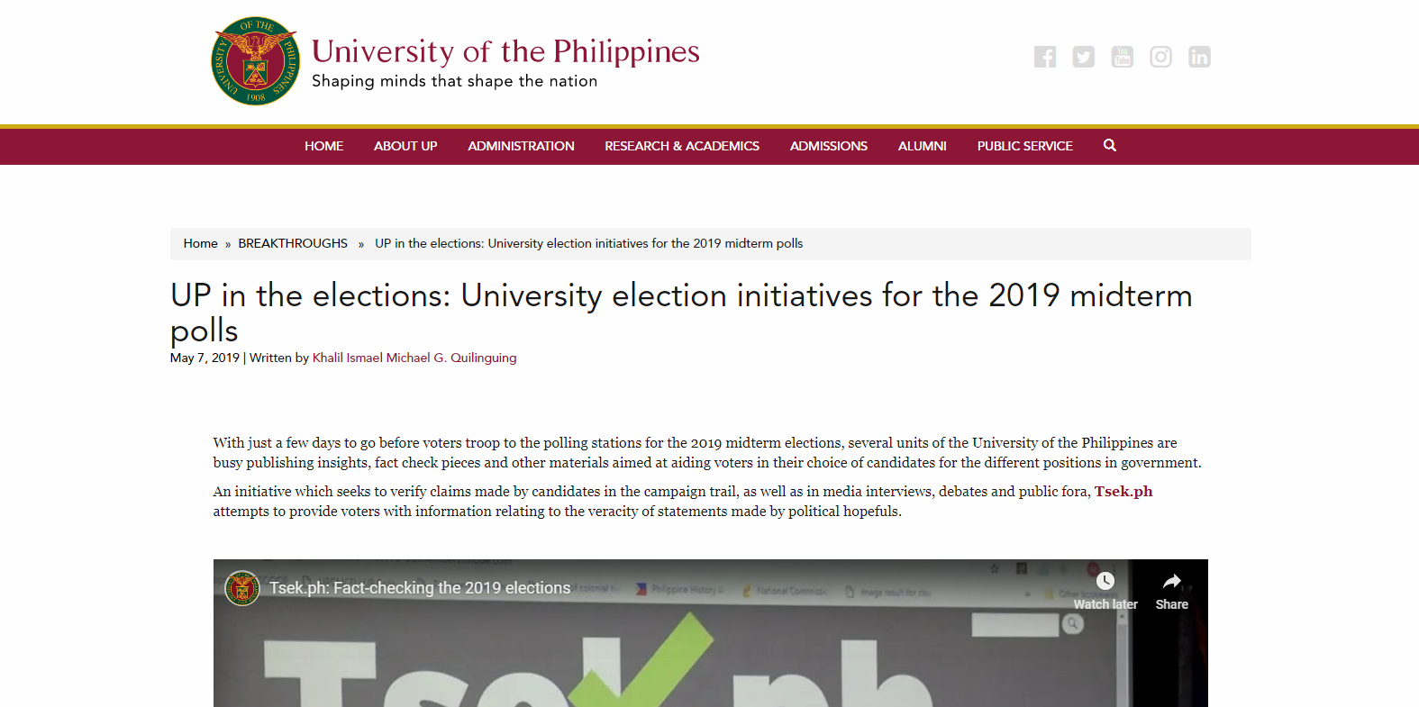 UP in the elections: University election initiatives for the 2019 midterm polls