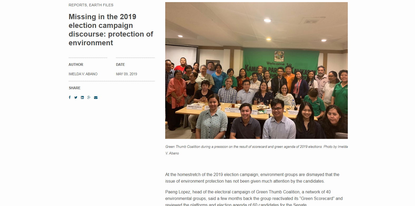 Missing in the 2019 election campaign discourse: protection of the environment