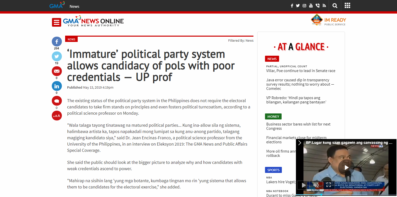 'Immature' political party system allows candidacy of pols with poor credentials - UP prof