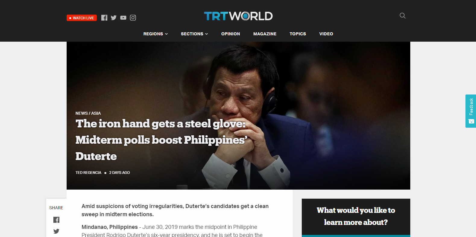 The iron hand gets a steel glove: midterm polls boost Philippines' Duterte
