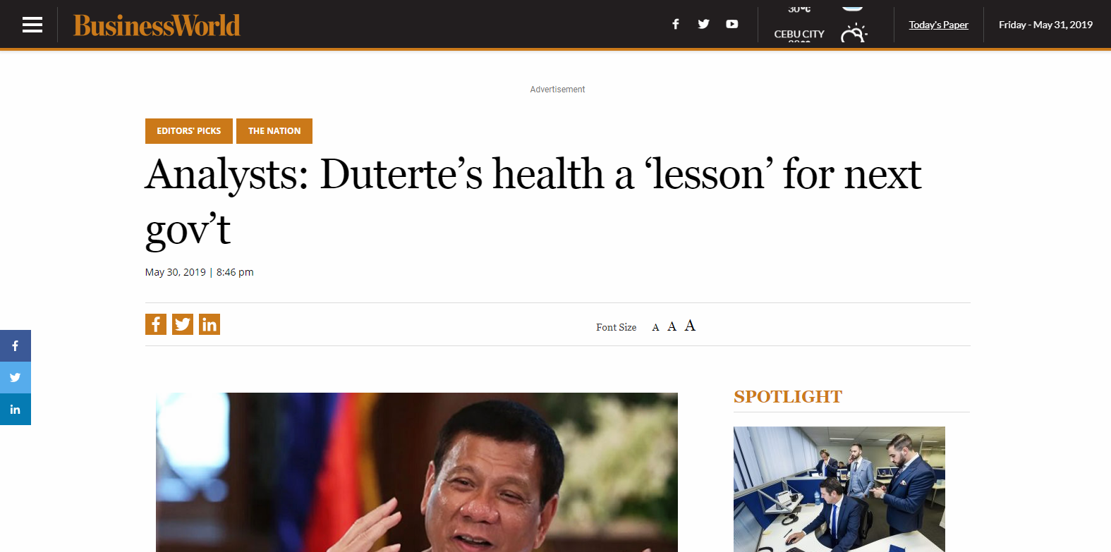 Analysts: Duterte's health a lesson for next gov't