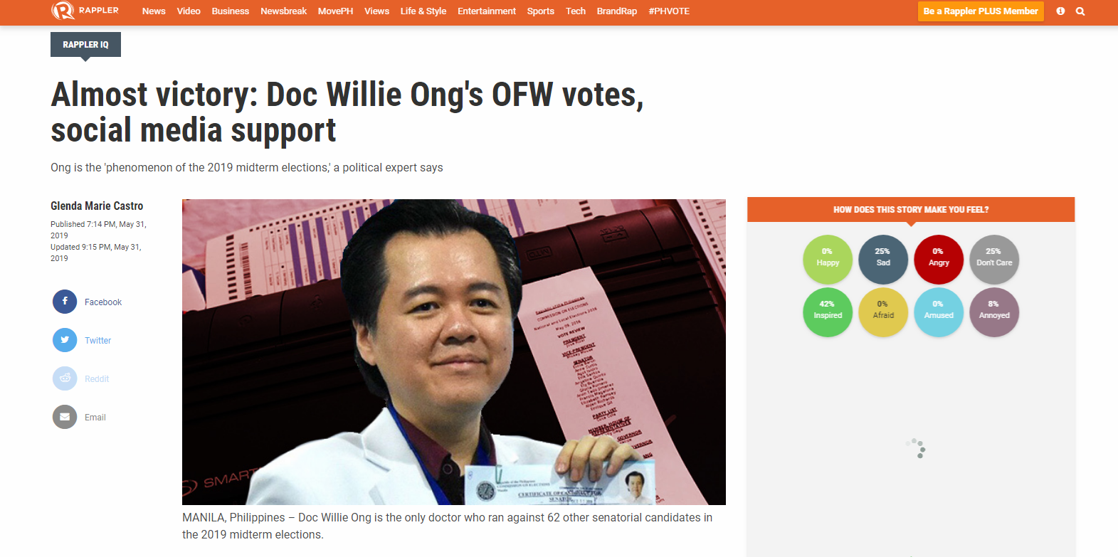 Almost victory: Doc Willie Ong's OFW votes, social media support